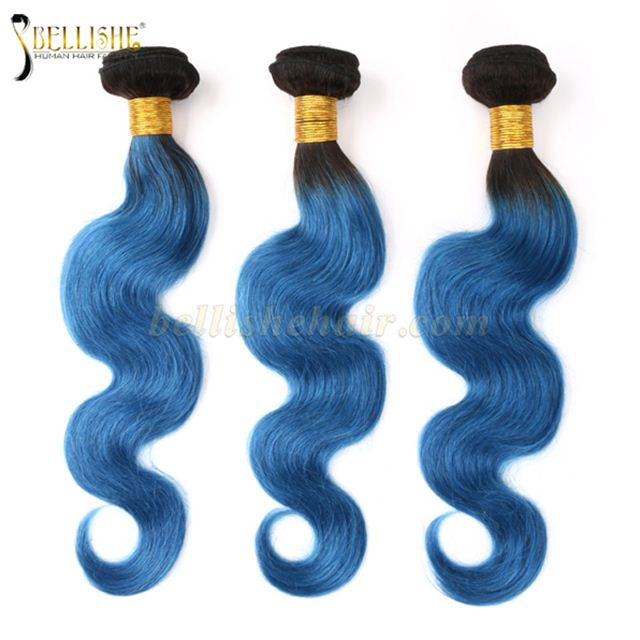 Mink Brazilian Hair Virgin Human Hair Weaves 1b Blue Body Wave